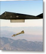 F 117 Nighthawk Engages Its Target And Drops A Gbu 28 Guided Bomb Metal Print