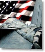 F-14 And Flag Metal Print