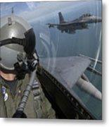 F-16 Fighting Falcons Flying Metal Print