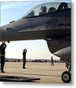 F-16 Fighting Falcons Parked Metal Print by Stocktrek Images