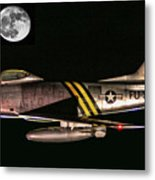 F-86 And The Moon Metal Print