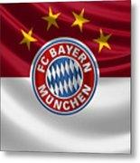 F C Bayern Munich - 3 D Badge Over Flag Metal Print