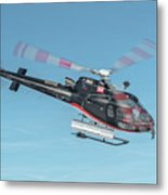 F-gsdg Eurocopter As350 Helicopter In Blue Sky  Metal Print