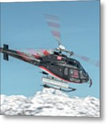 F-gsdg Eurocopter As350 Helicopter Over Mountain Metal Print