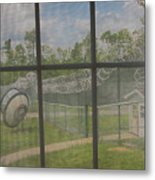 Prison Yard With Razor Wire, Guard House And Satellite Dish Metal Print