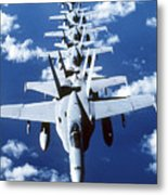 Fa-18c Hornet Aircraft Fly In Formation Metal Print