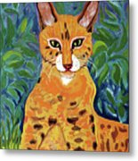 fabulous cat portrait in the style of Van Gogh's Metal Print