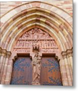 Facade Church Of Obernai,alsace France 073540 Metal Print