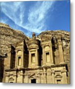 Facade Of Ad Deir An Ancient Rock-cut Monastery In Petra Metal Print