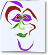 Face 6 On Light Blue Metal Print