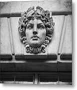 Face In Stone Metal Print