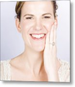 Face Of A Smiling Bride With Perfect Makeup Metal Print