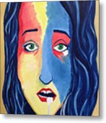Facial Or Woman With Green Eyes Metal Print