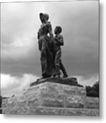 Facing The Storm Pioneer Woman Statue Oklahoma Icon   Metal Print by Ann Powell