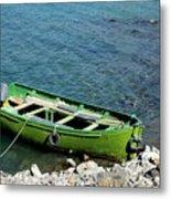 Faded Green Yellow Motor Power Boat Parked At Satpara Lake Pakistan Metal Print