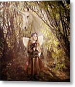 Fairy And Unicorn Metal Print by Cindy Singleton