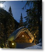 Fairy House In The Forest Moonlit Winter Night Metal Print