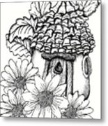 Fairy House With Pine Cone Roof And Daisies Metal Print