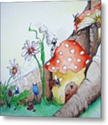 Fairy Mushrooms Metal Print