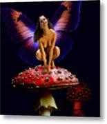 Fairy On Mushroom Metal Print