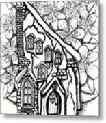 Fairy Stucco House With Flowers Metal Print