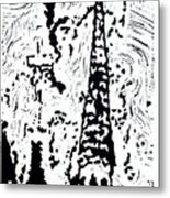 Faith--Hand-pulled Linoleum Cut Relief Print Metal Print
