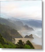 Falcon And Silver Point At Oregon Coast Metal Print