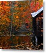 Fall Barn And River N Leverett Ma Metal Print