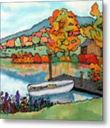 Fall Boat And Dock Metal Print