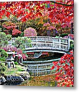 Fall Bridge In Manito Park Metal Print by Carol Groenen