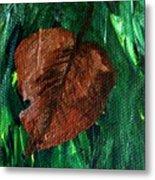 Fall Brown Leaf Metal Print