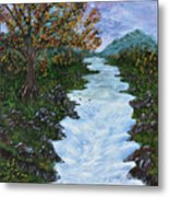 Fall By The River Metal Print