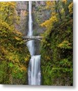 Fall Colors At Multnomah Falls Metal Print