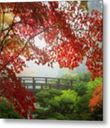 Fall Colors By The Moon Bridge Metal Print