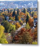 Fall Colors In Spokane From The Post Street Hill Metal Print