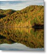 Fall Colors On Lake Reflection Metal Print