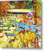 Fall Colors On The Lily Pond Metal Print