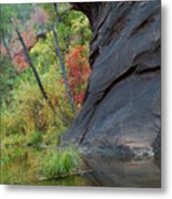 Fall Colors Peek Around Mountain Vertical Metal Print
