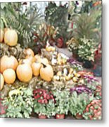 Fall Decorating At The Market Metal Print