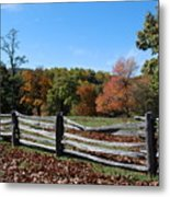 Fall Fence Metal Print