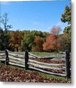 Fall Fence Metal Print