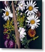 Fall Floral Collage Metal Print