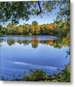 Fall Foliage At Turners Pond In Milton Massachusetts Metal Print