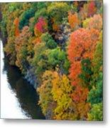 Fall Foliage In Hudson River 1 Metal Print