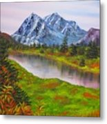 Fall In Mountains Landscape Oil Painting Metal Print