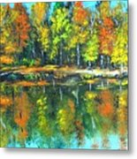 Fall Landscape Acrylic Painting Framed Metal Print