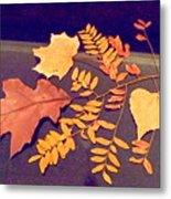 Fall Leaves On Granite Counter Metal Print
