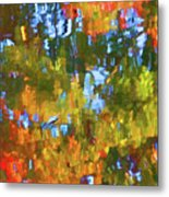 Fall Leaves On River 12 Metal Print