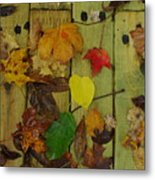 Fall Leaves On The Deck Metal Print
