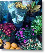 Fall Market Scene In Watercolor Metal Print